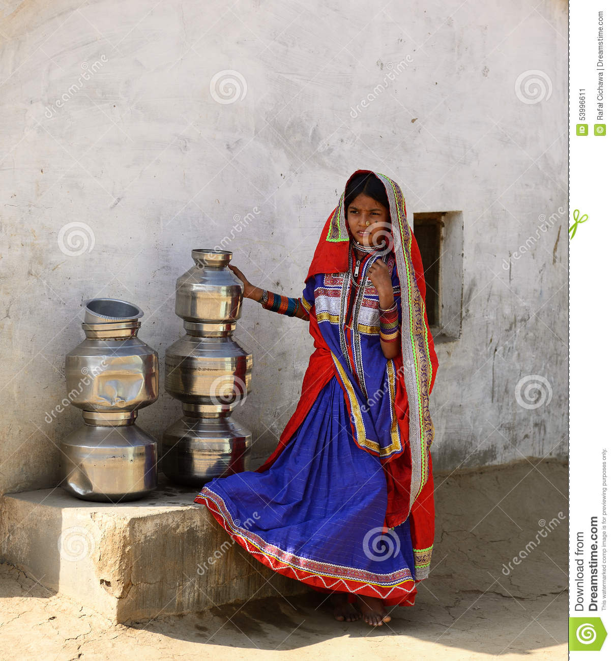 Bhuj India  city photos gallery : BHUJ, INDIA JANUARY 13: The ethnic girl is preparing to go for water ...