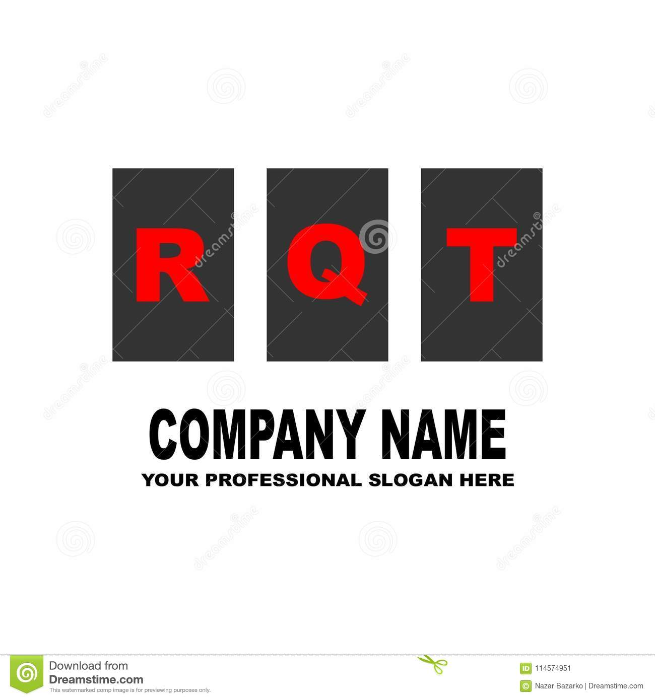 simple logo the three letters rqt are located on three separate