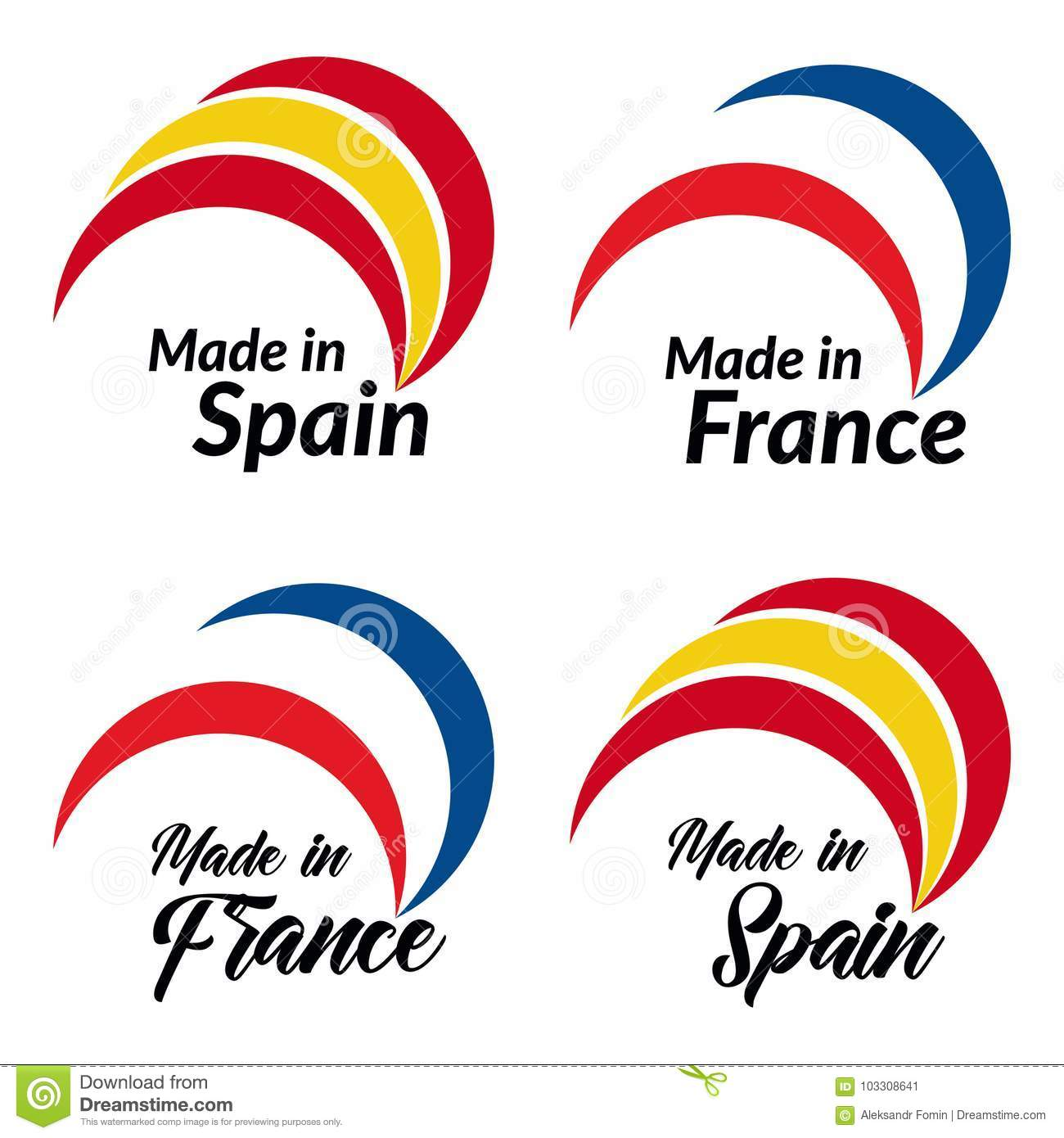 Simple Logos Made In Spain Made In France Vector Logos With - Is spain in france