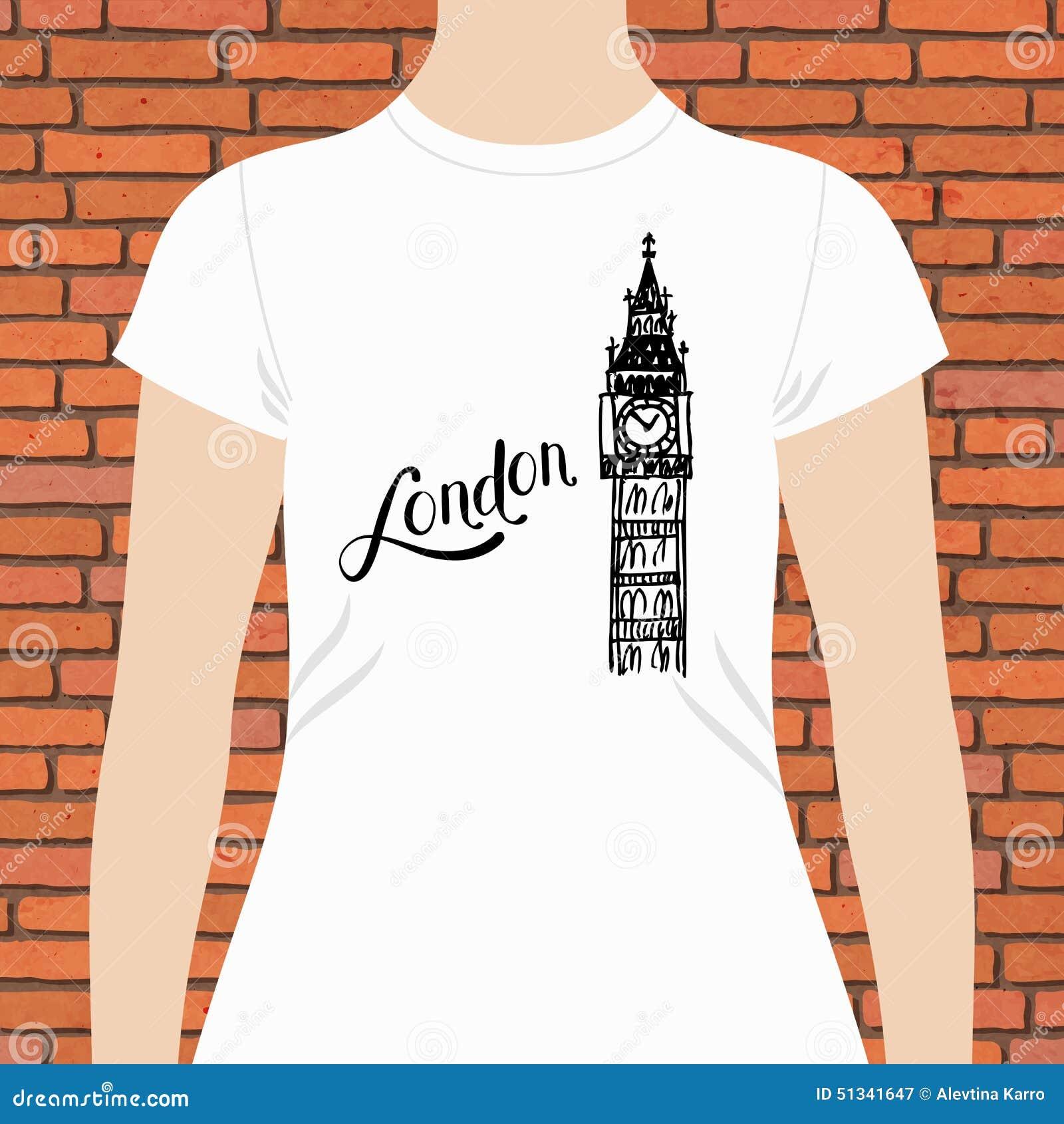 Shirt design london - Simple London Shirt With Big Ben Tower Design