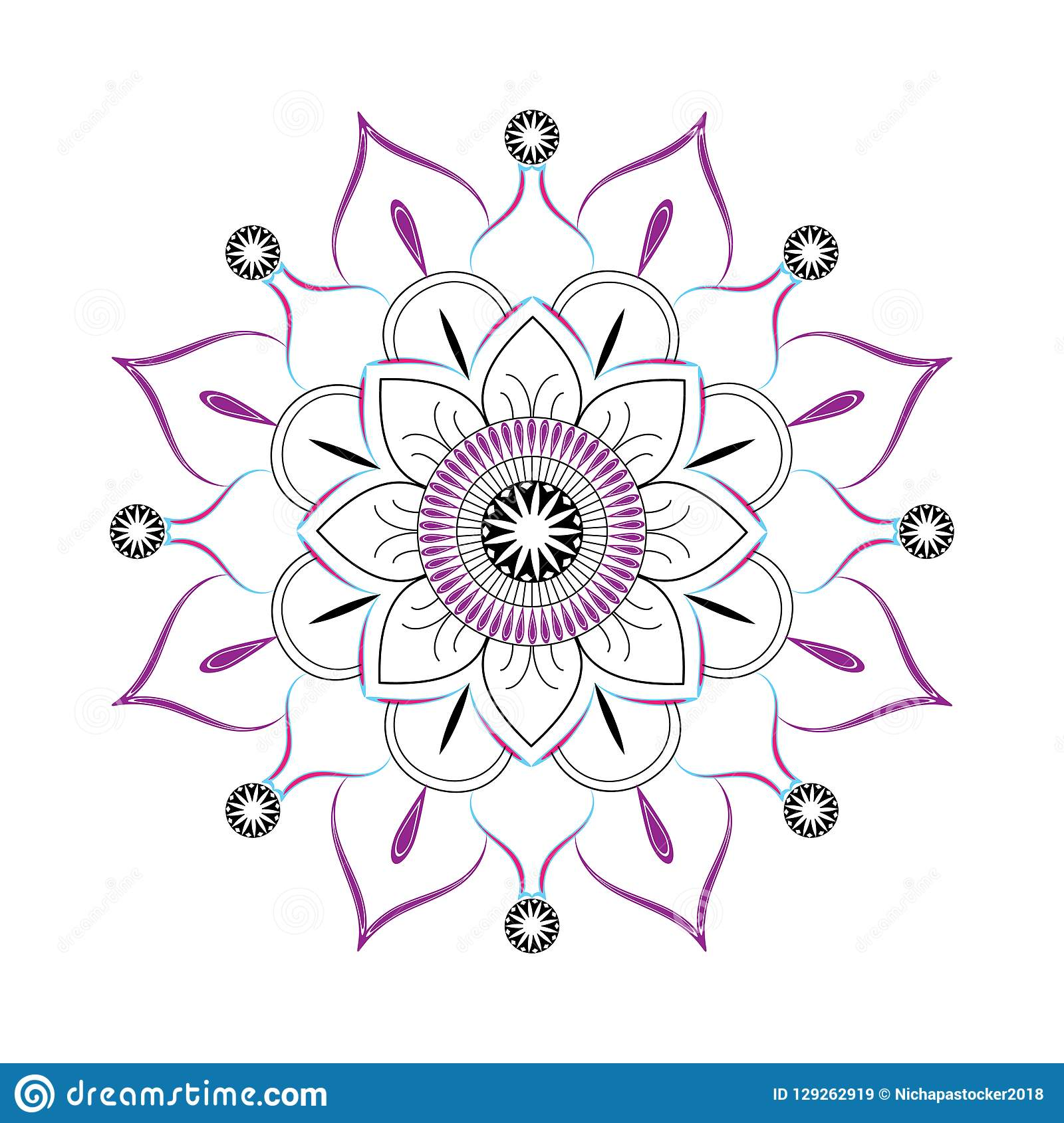 Simple Mandala Vector Color And Black Outline On White