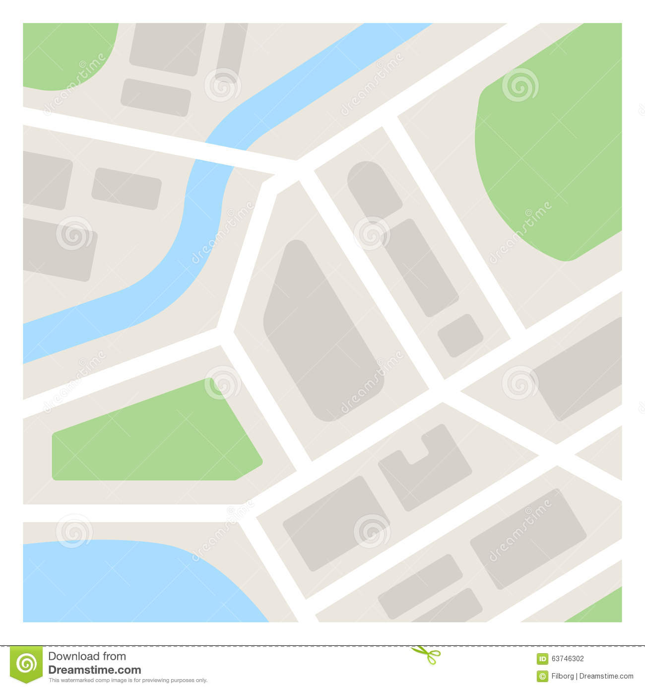 Simple Map Illustration Stock Vector Image Of River