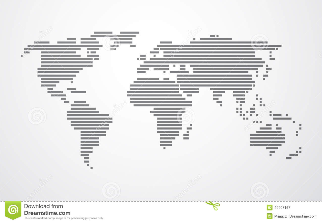simple map of the world made up of black stripes stock