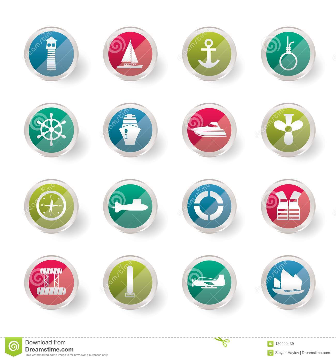 Simple Marine, Sailing and Sea Icons over colored background