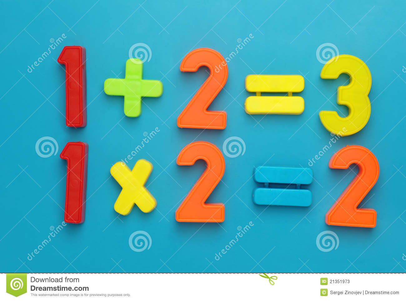 Simple Math With Magetic Numbers. Stock Image - Image of education ...