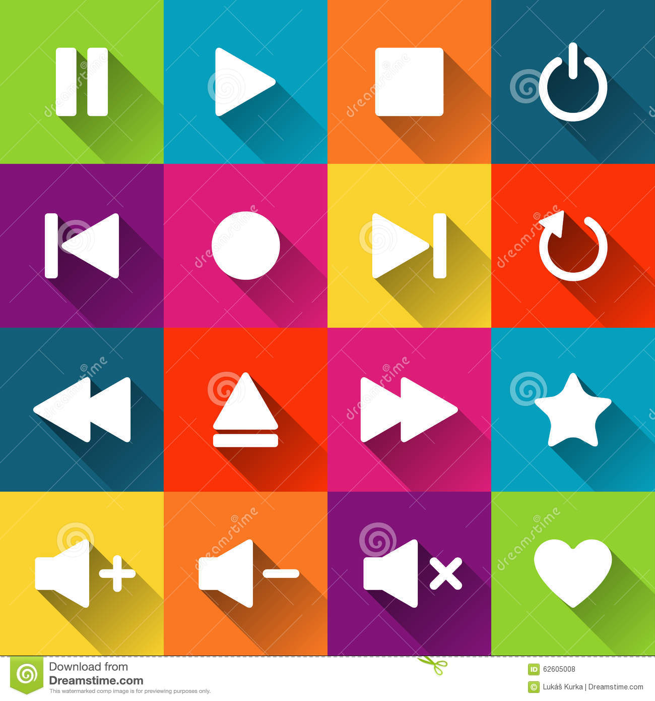 Simple Media Player Icons On The Colored Tiles Stock Vector