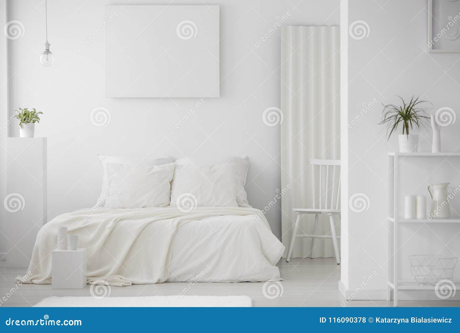 Simple, Minimal, White Bedroom Interior Stock Photo - Image ...