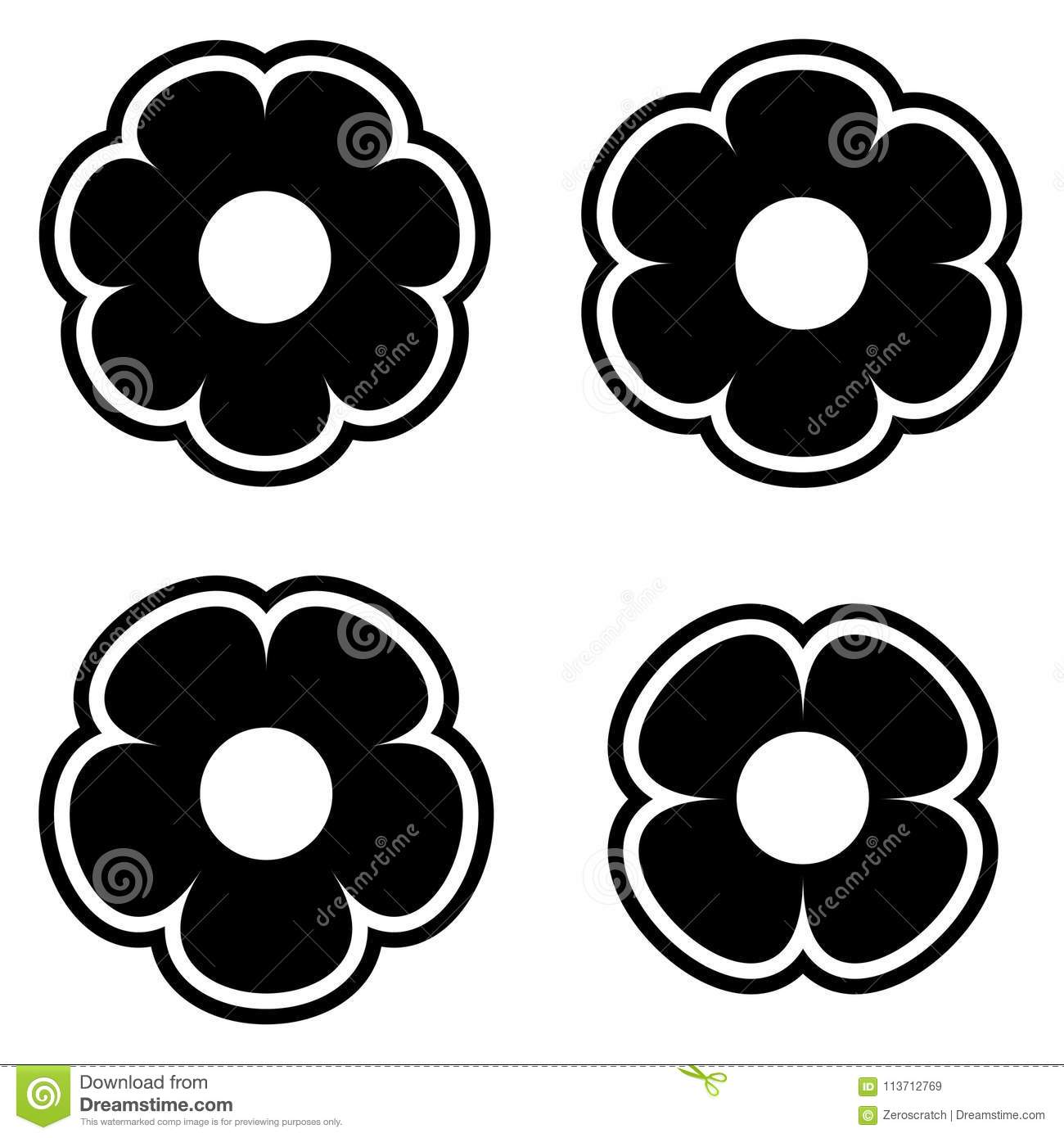 Simple black and white flower flowers icon symbol logo set stock download simple black and white flower flowers icon symbol logo set stock vector illustration of mightylinksfo