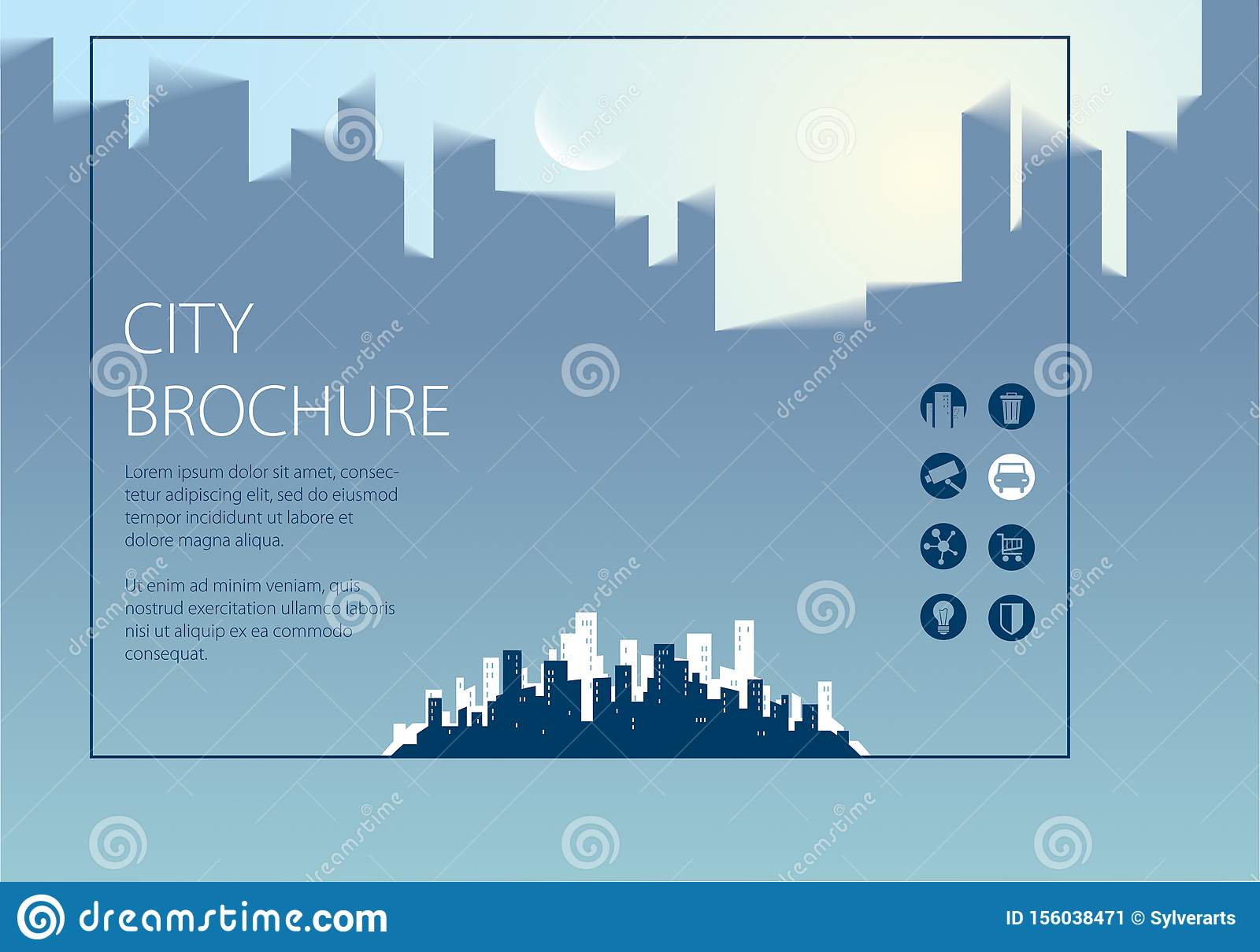Simple minimalistic city skyline traveling tourist guide book. Horizontal A4 brochure, flyer, cover, poster or guidebook template