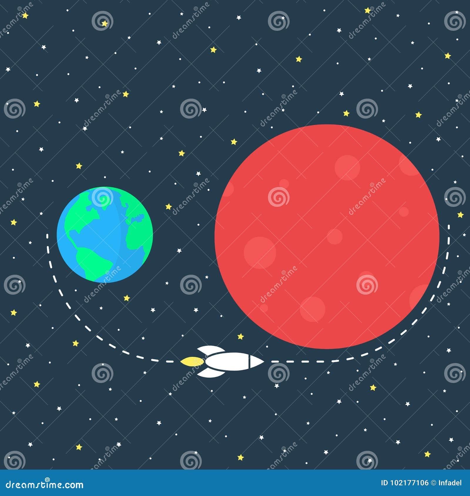 Simple Mission To Mars Image Stock Vector Illustration Of Orbit