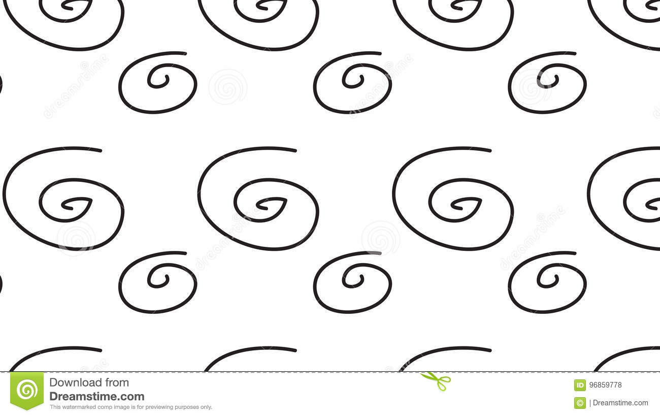 Simple Modern Abstract Monochrome Swirl Pattern Stock Illustration