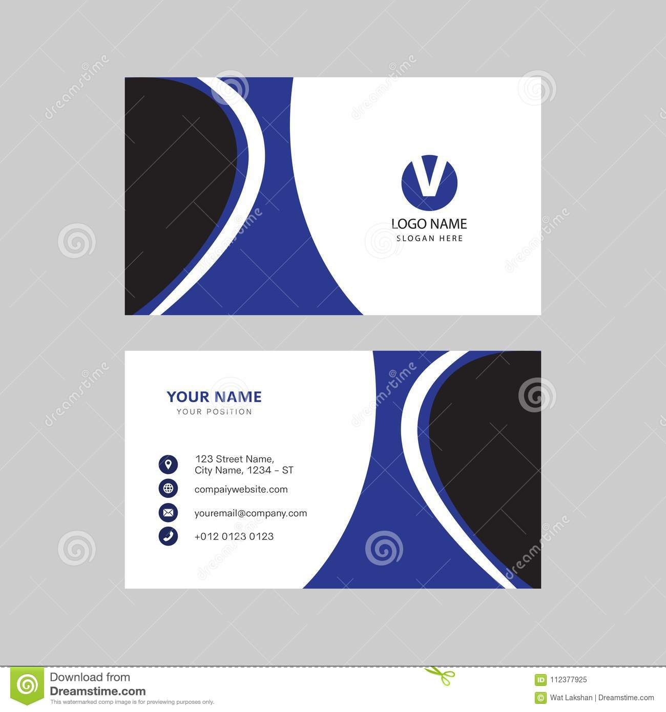 Simple Modern Professional Creative Business Card Design Stock