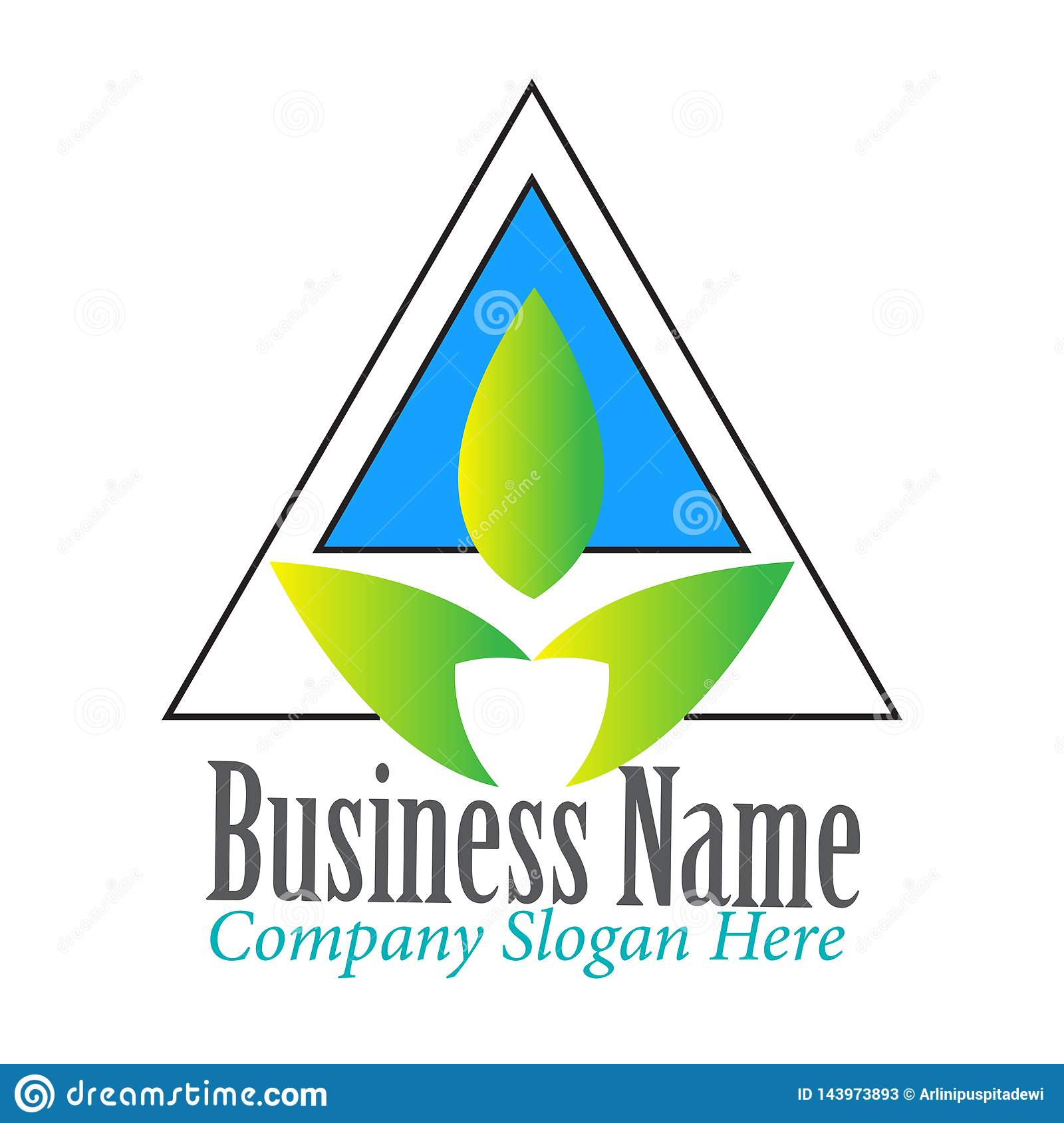 Simple Modern Triangle with Leaf logo design inspiration