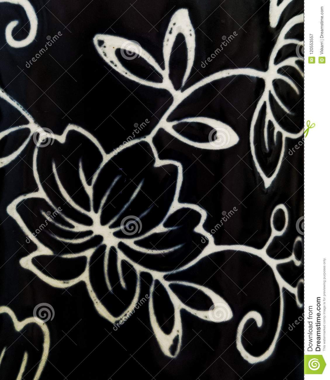 Minimalist Floral Black And White Patterned Wallpaper Stock Image