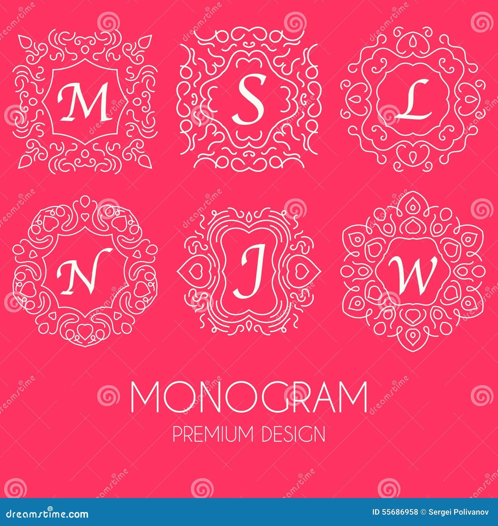 simple and graceful floral monogram design template  elegant line art logo design  vector