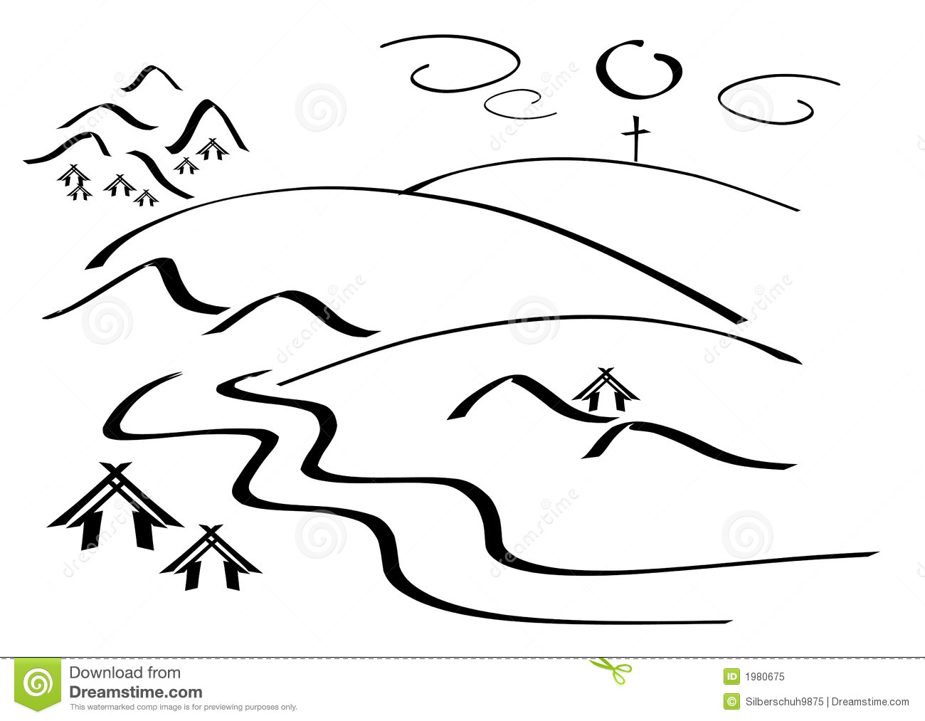 Calligraphy drawing of a simple mountain landscape Mountain Landscape Outline