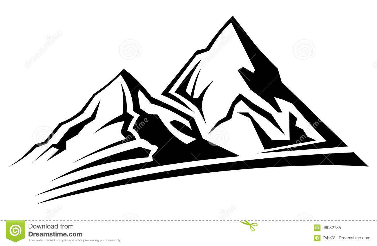 Line Drawing Software Free Download : Simple mountain silhouette stock vector illustration of