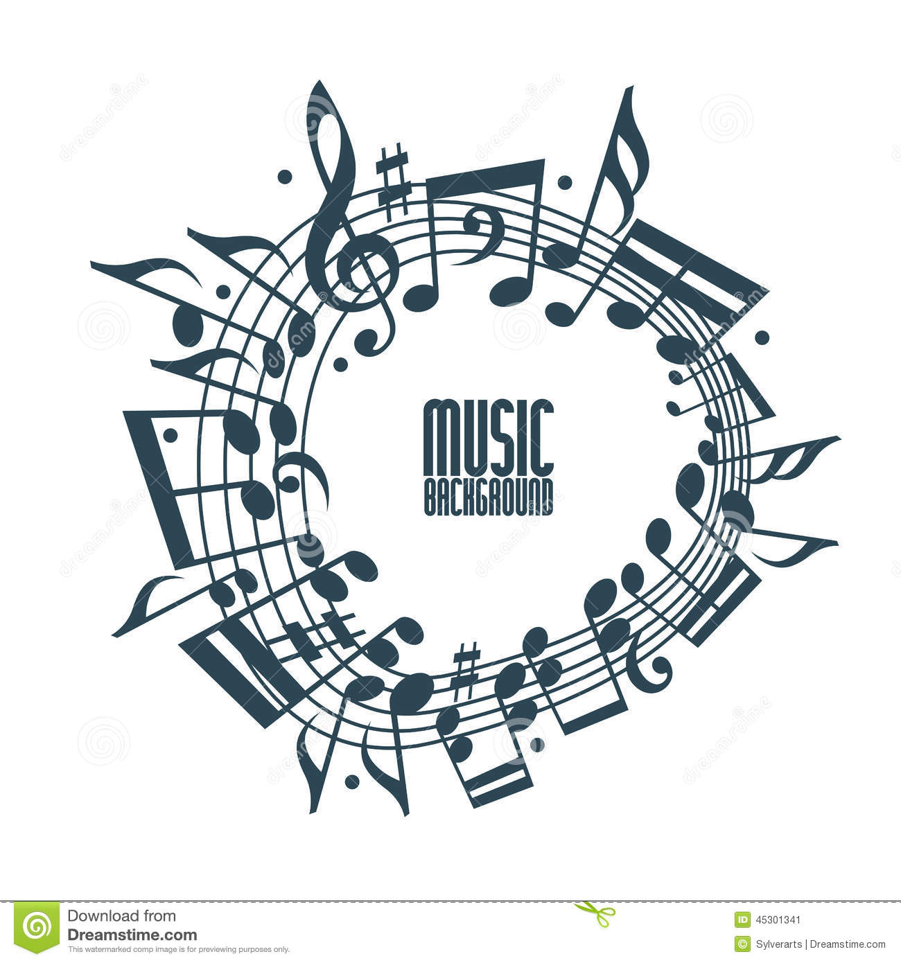 Simple music background with notes and clef stock vector for Copy design
