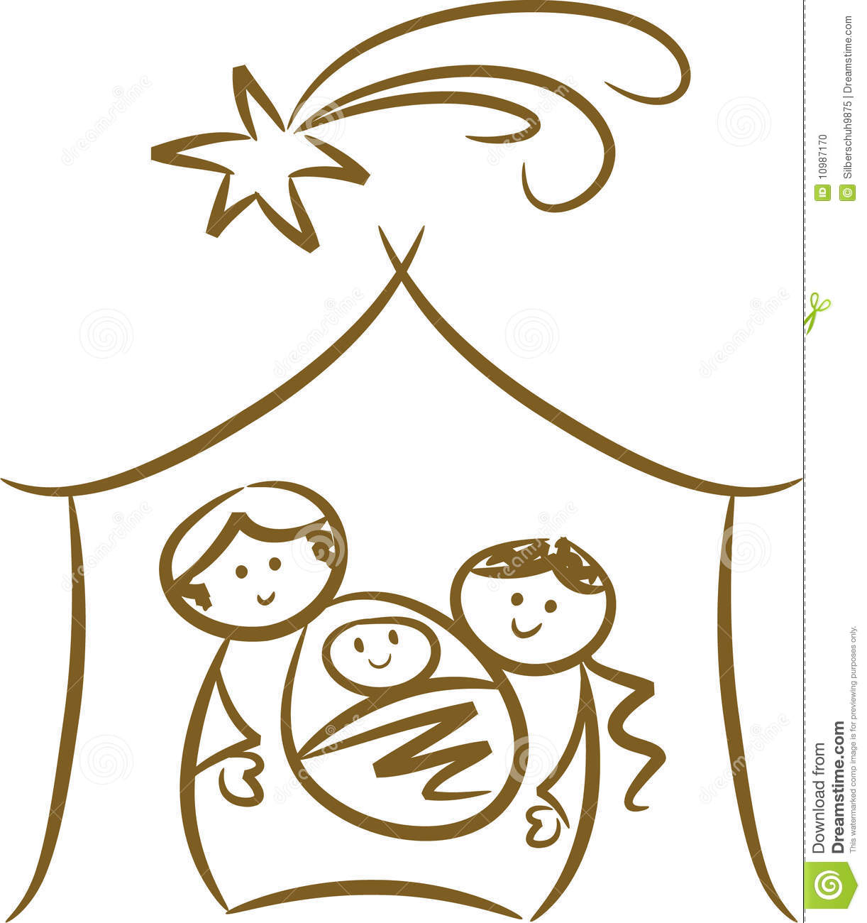 Simple line-art drawing of Nativity scene showing Joseph, Mary, baby ...