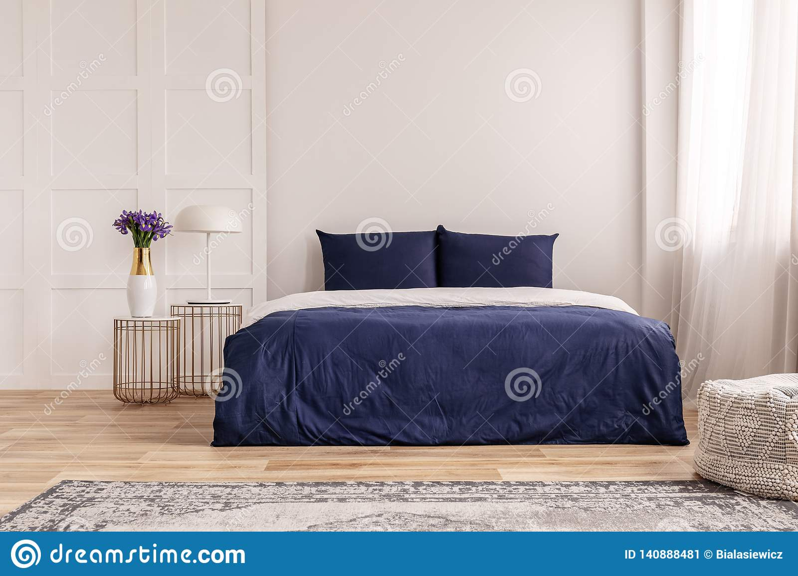 Simple Navy Blue And White Bedroom Interior Design Stock Image Image Of Flat Wall 140888481