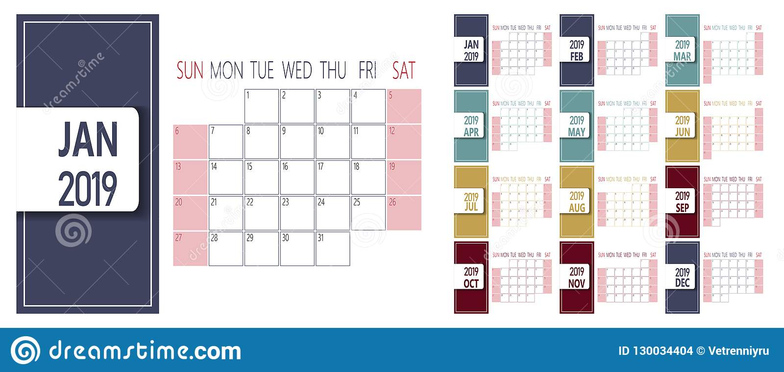 Simple 2019 new year calendar template. Week starts on Sunday