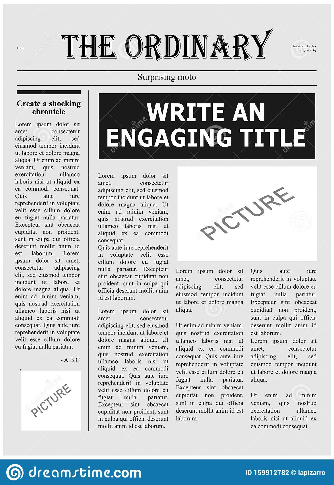 Newspaper Outline Template from thumbs.dreamstime.com