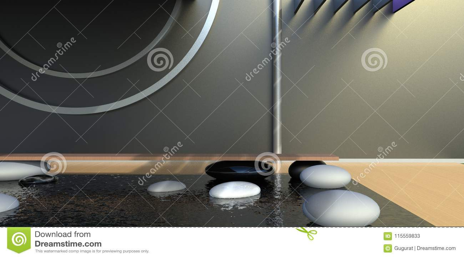 Simple noir et blanc minimal et bureau de zen illustration stock