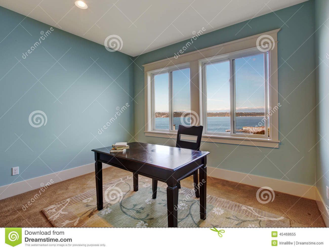 Simple Office Room In Light Blue Color Stock Photo Image