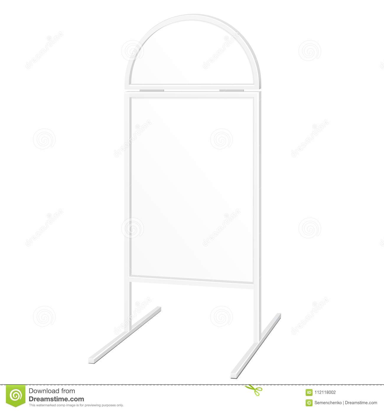 Simple Outdoor Indoor Stander Advertising Stand Banner Shield Display, Advertising. Illustration Isolated.