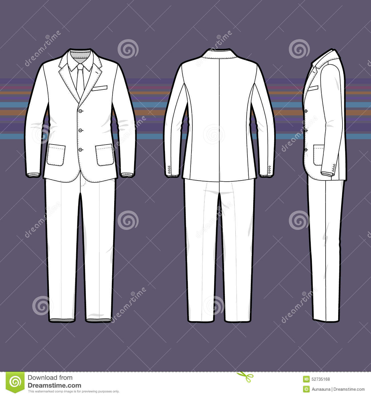 Simple Outline Drawing Of A Men S Suit Stock Photo Image