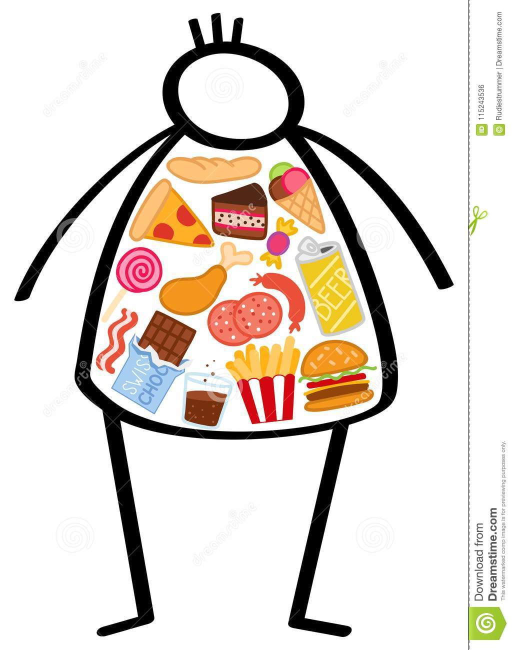 Simple overweight stick figure man, body filled with unhealthy foods, junk food, snacks, hamburger, pizza, chocolate and beer