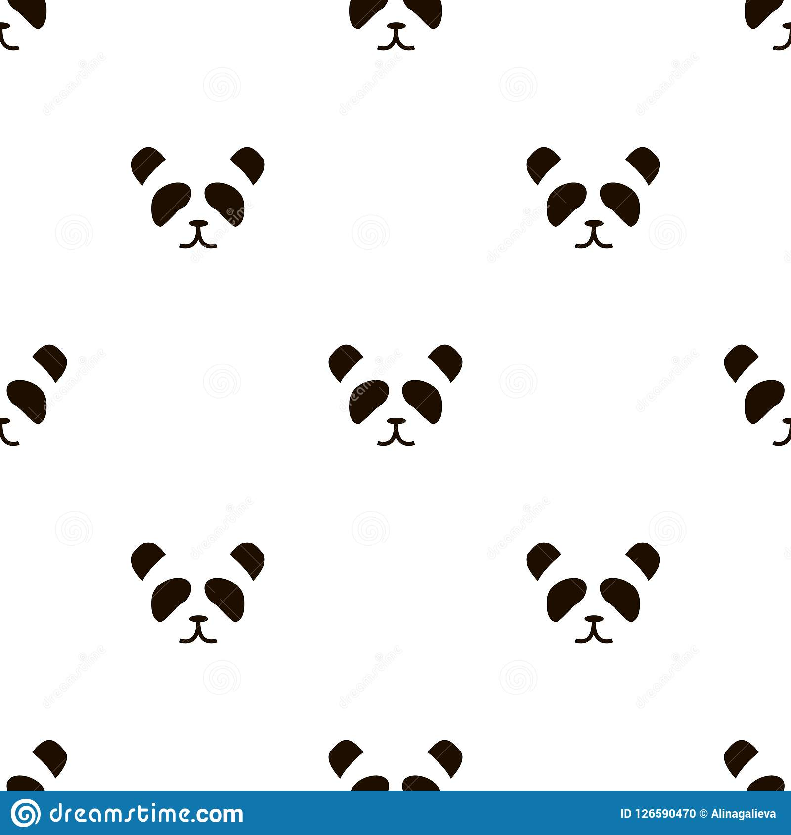 Simple Panda Face Pattern On White Background Stock Vector