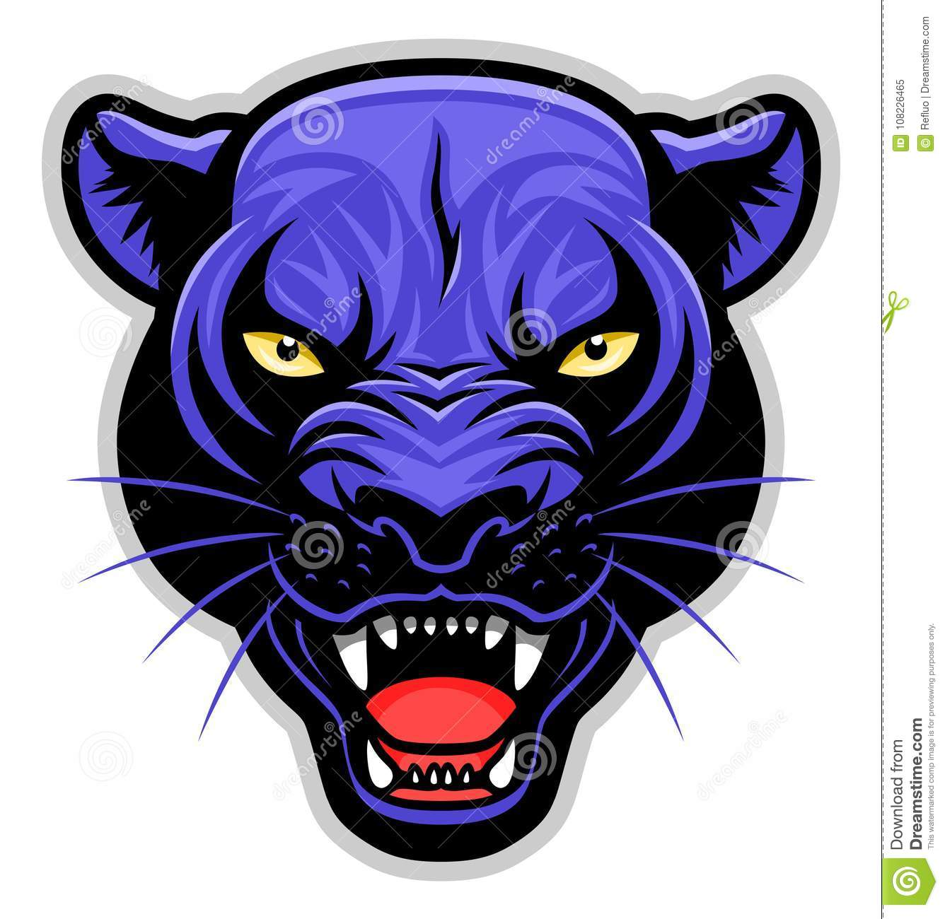 Growling Panther Face Stock Vector 585261455: Simple Panther Head Stock Vector. Illustration Of Black