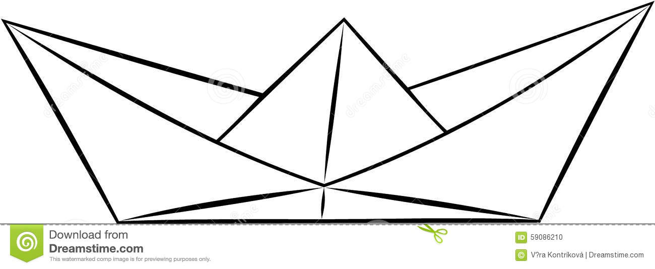 Download Simple Paper Ship Boar Origami Black And White Vector Stock