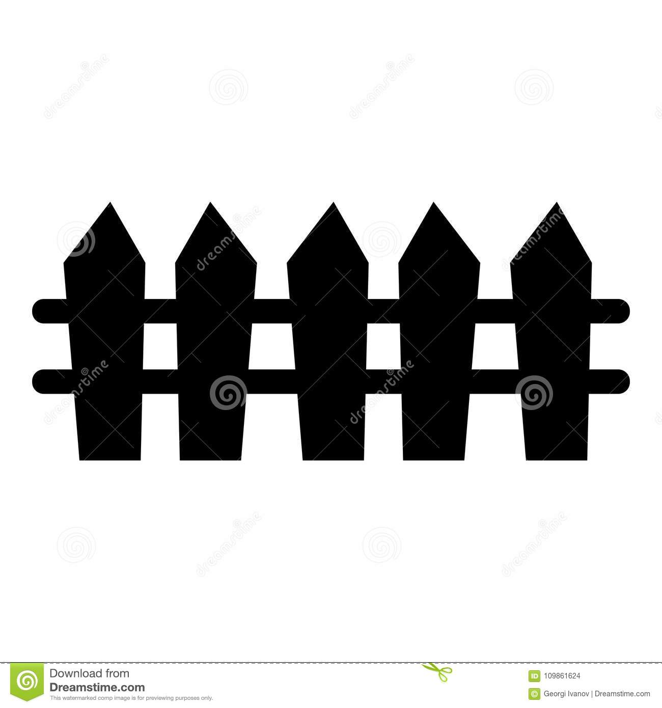 Simple, Picket Fence Silhouette Stock Vector ...