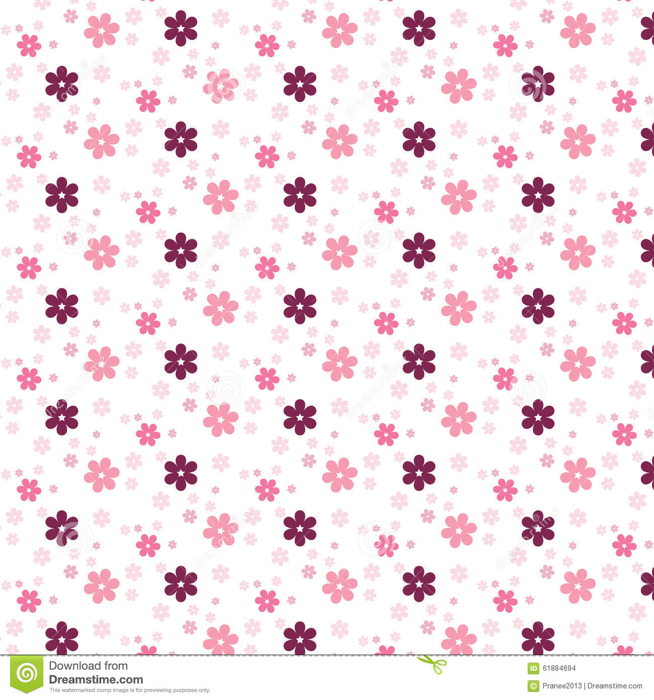 simple pink flower pattern colorfulness cute stock vector