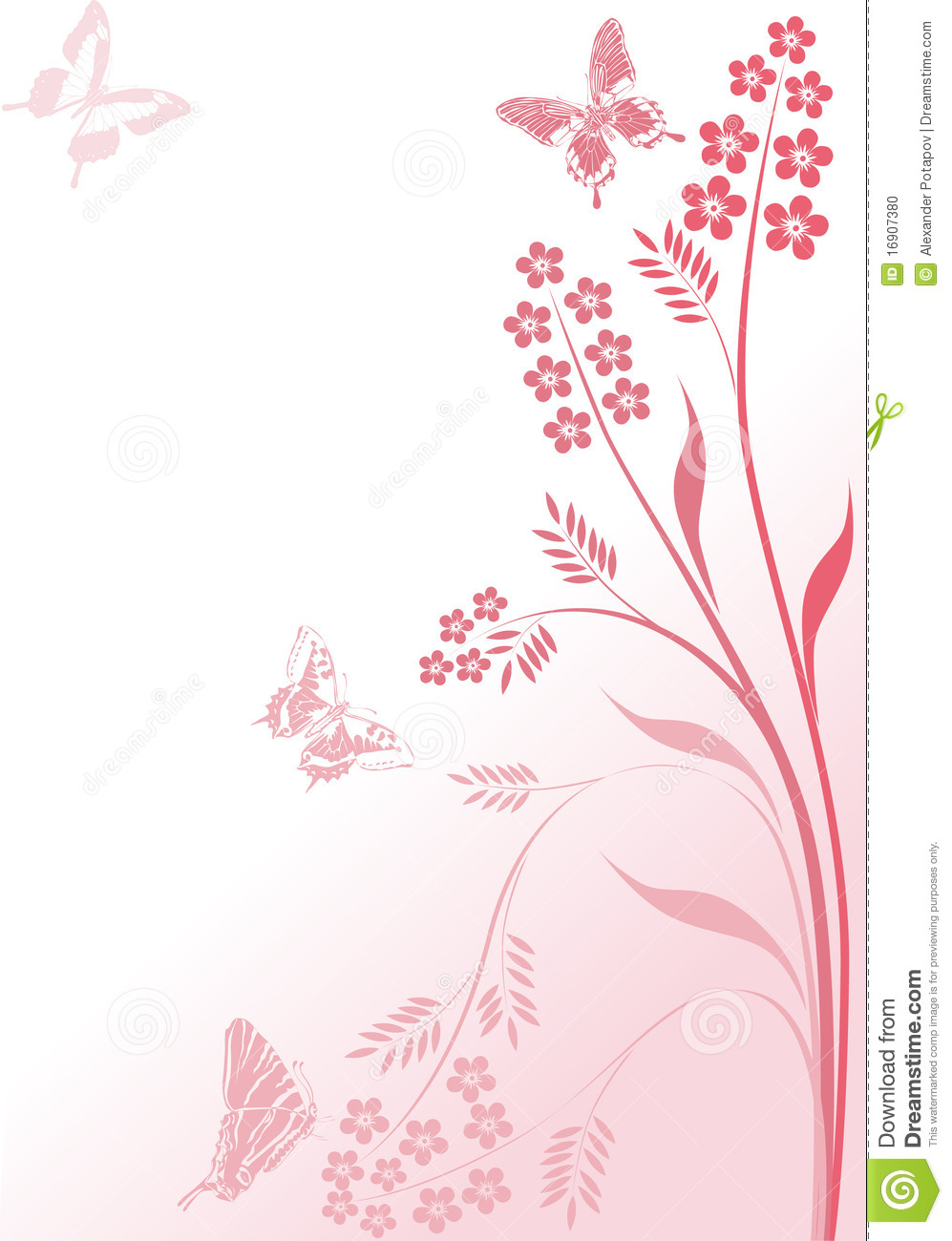 simple pink flowers and butterflies stock photo image 16907380