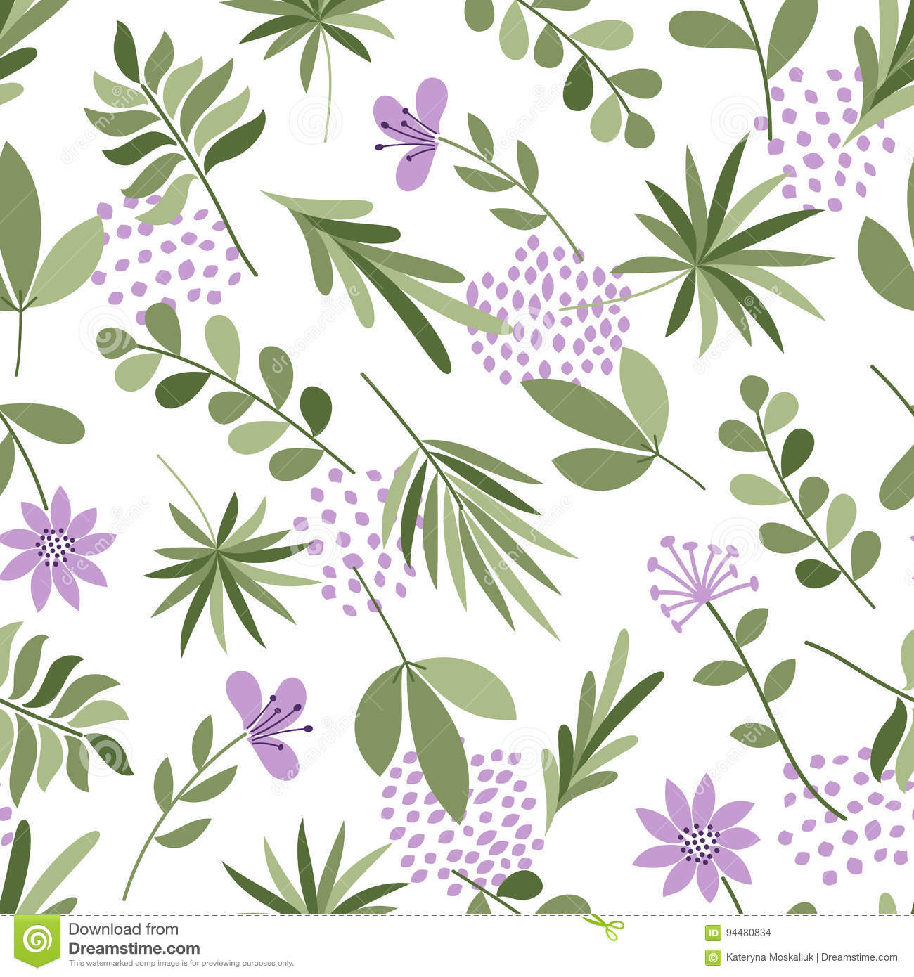 simple plants pattern seamless cute background with flowers and