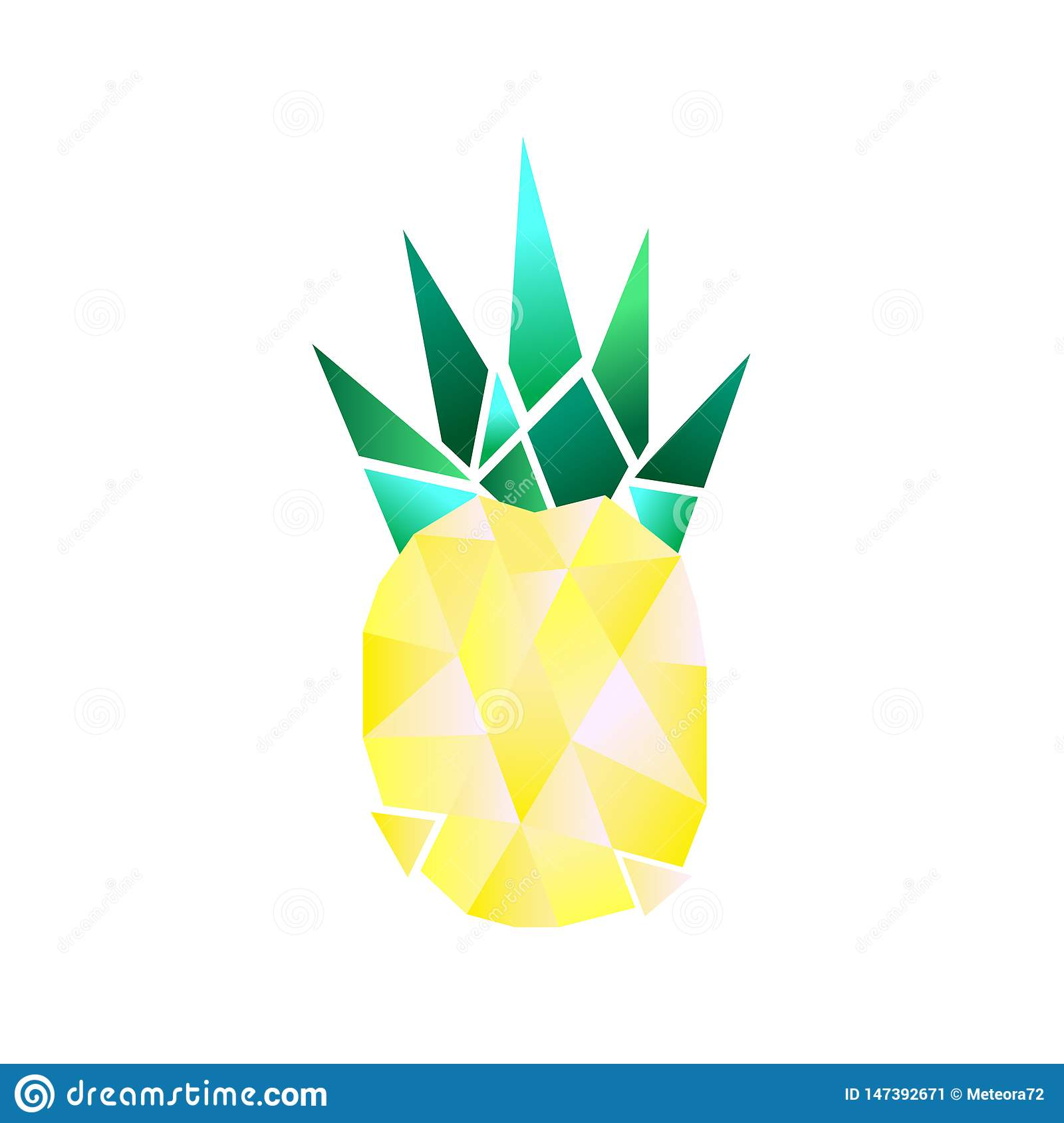 Simple raster polygonal pineapple. Nice illustration.