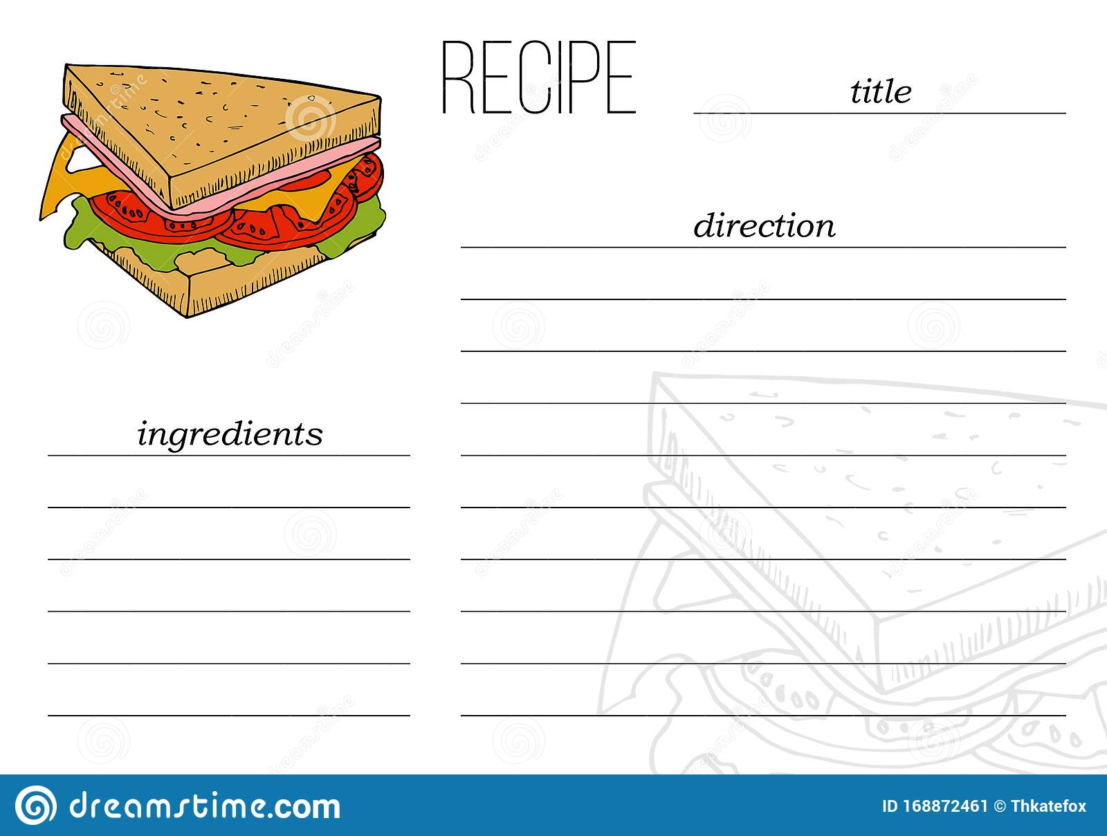Vector Simple Recipe Card Template With Fast Food Illustration In In Cpr Card Template