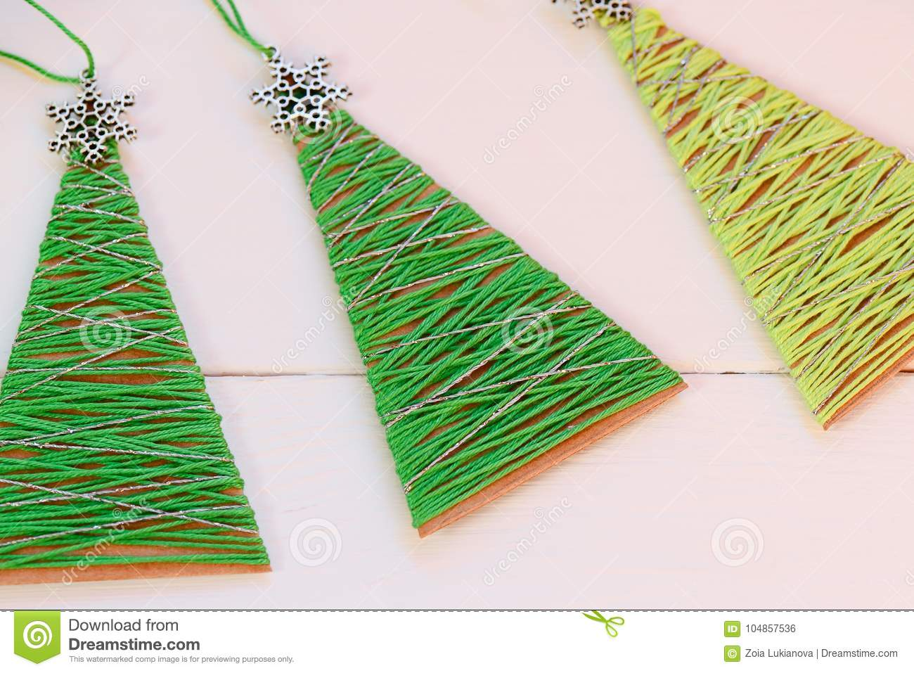 Christmas Trees On A Wooden Table Creative Christmas Trees Made Of
