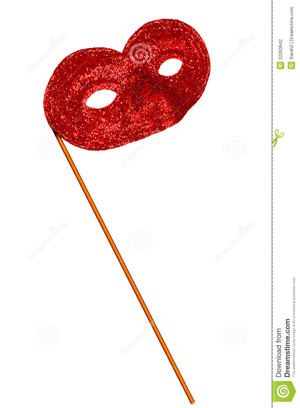 Simple Red Glitter Fancy Dress Or Carnival Mask - Isolated Stock ...