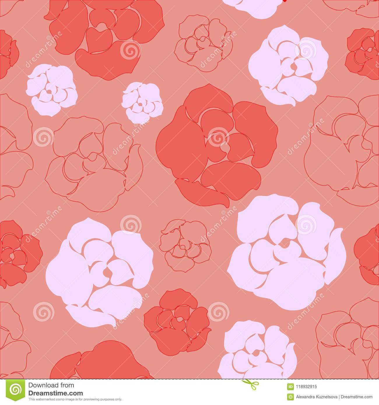 Simple Red And Pink Rose Pattern Stock Illustration Illustration