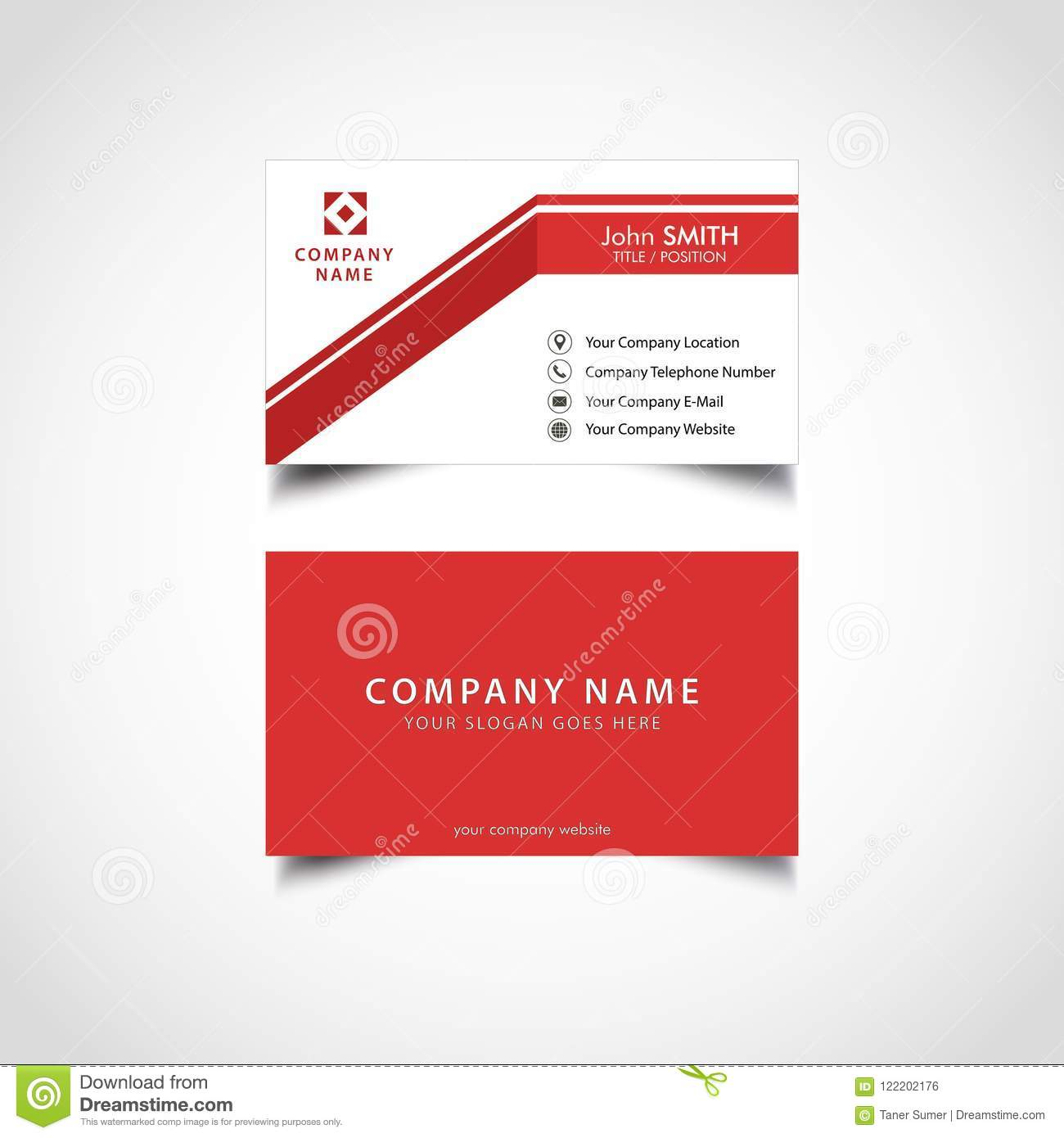 Simple red and white business card template stock vector simple red and white business card template wajeb Gallery
