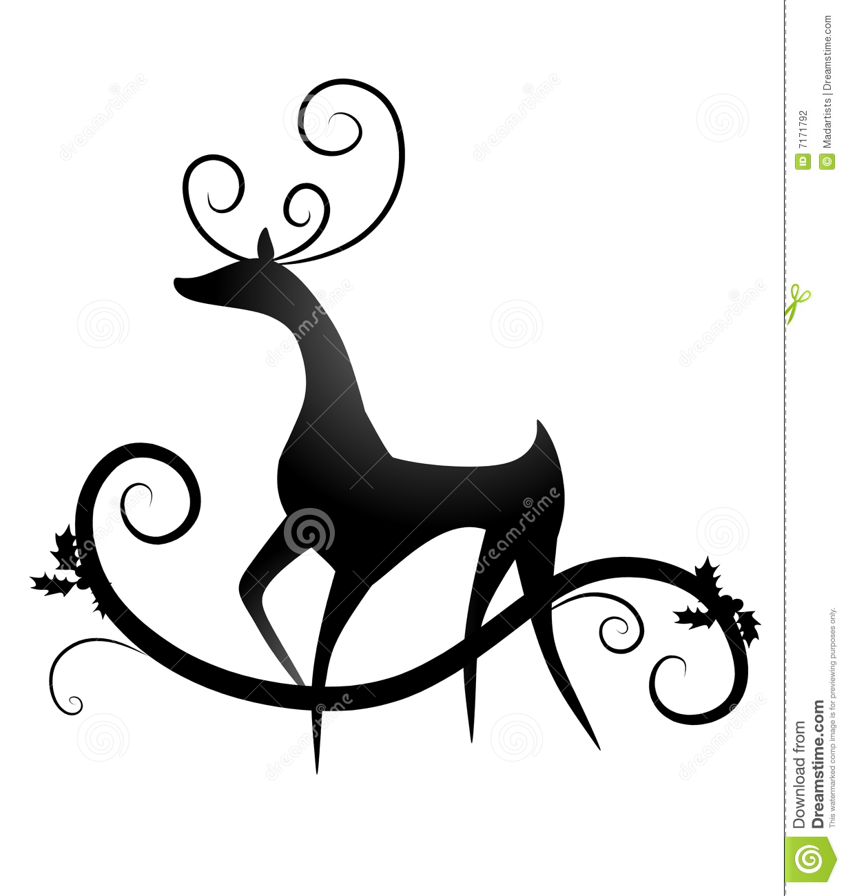 An illustration featuring a black reindeer silhouette with swirls and ...