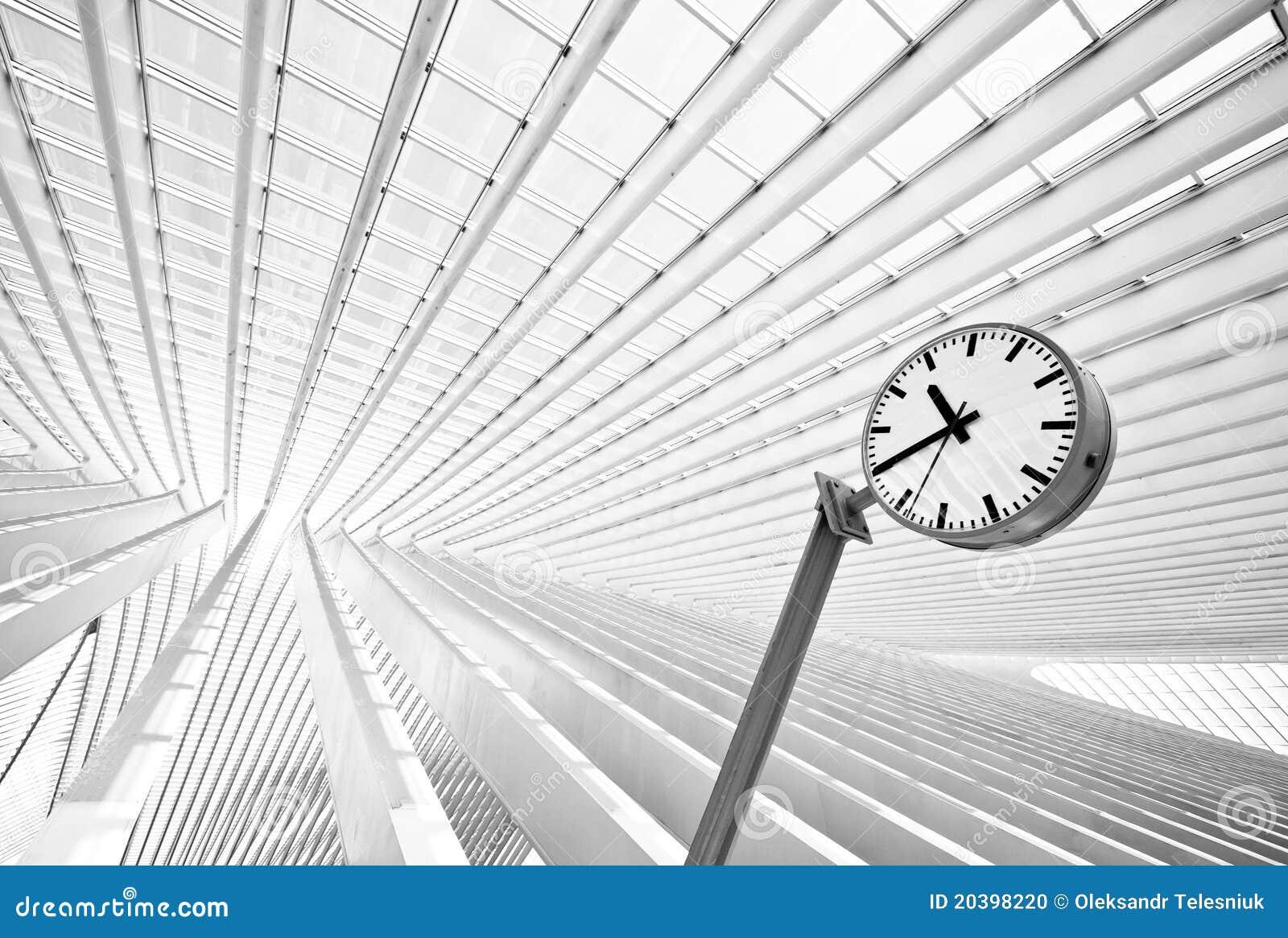 Futuristic Clock Simple Round Clock In Futuristic Interior Stock Photo Image
