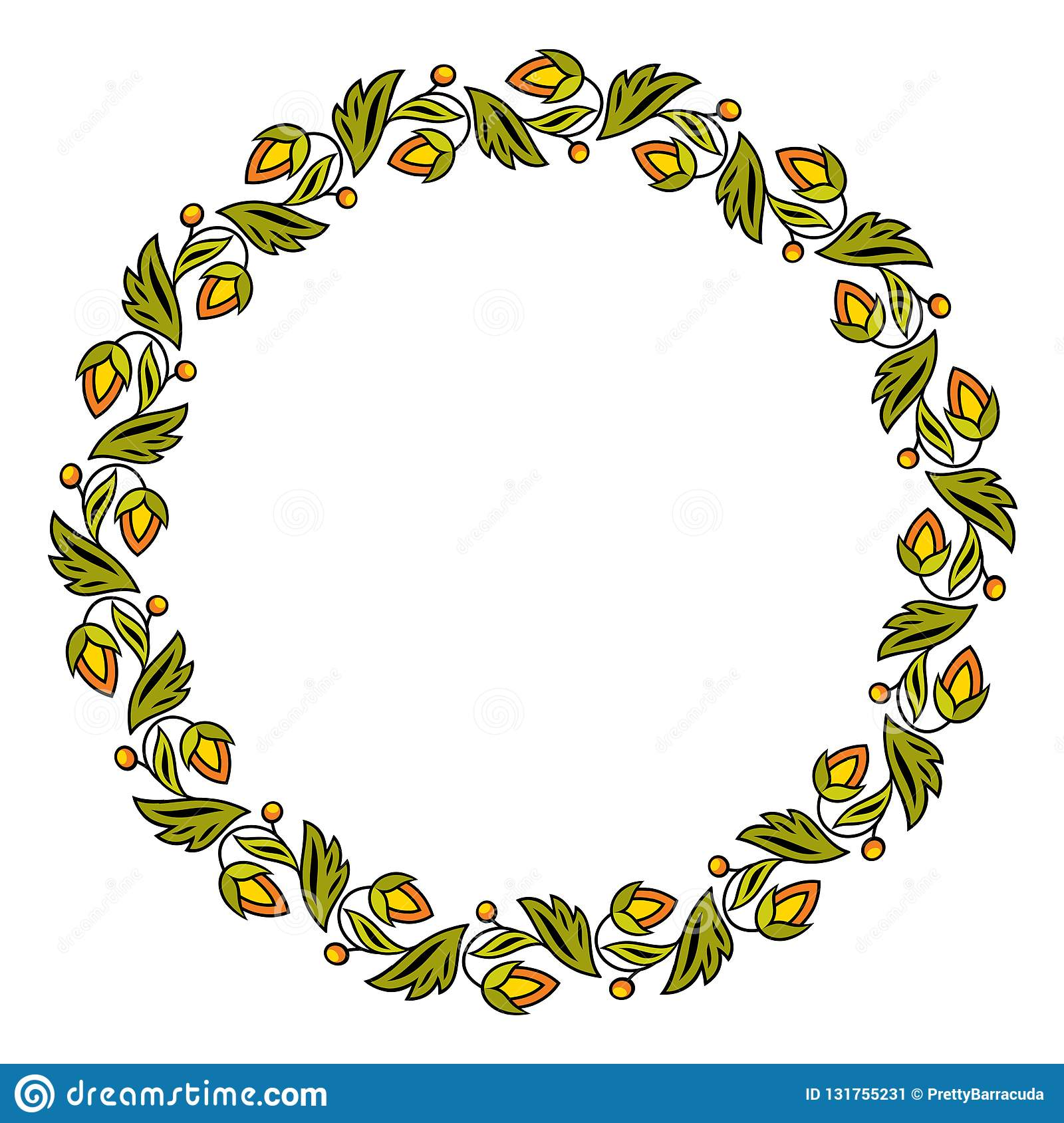 Simple round colorful floral frame wreath vector illustration