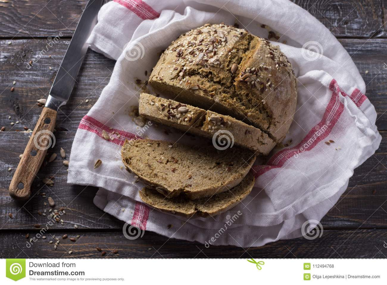 Simple Rustic Rye Oat Bread Without Yeast With Seeds Stock ...