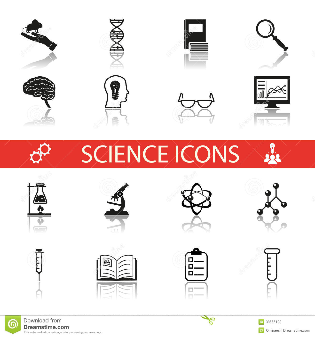 Simple Science And Research Icons Symbols Set Stock Photos