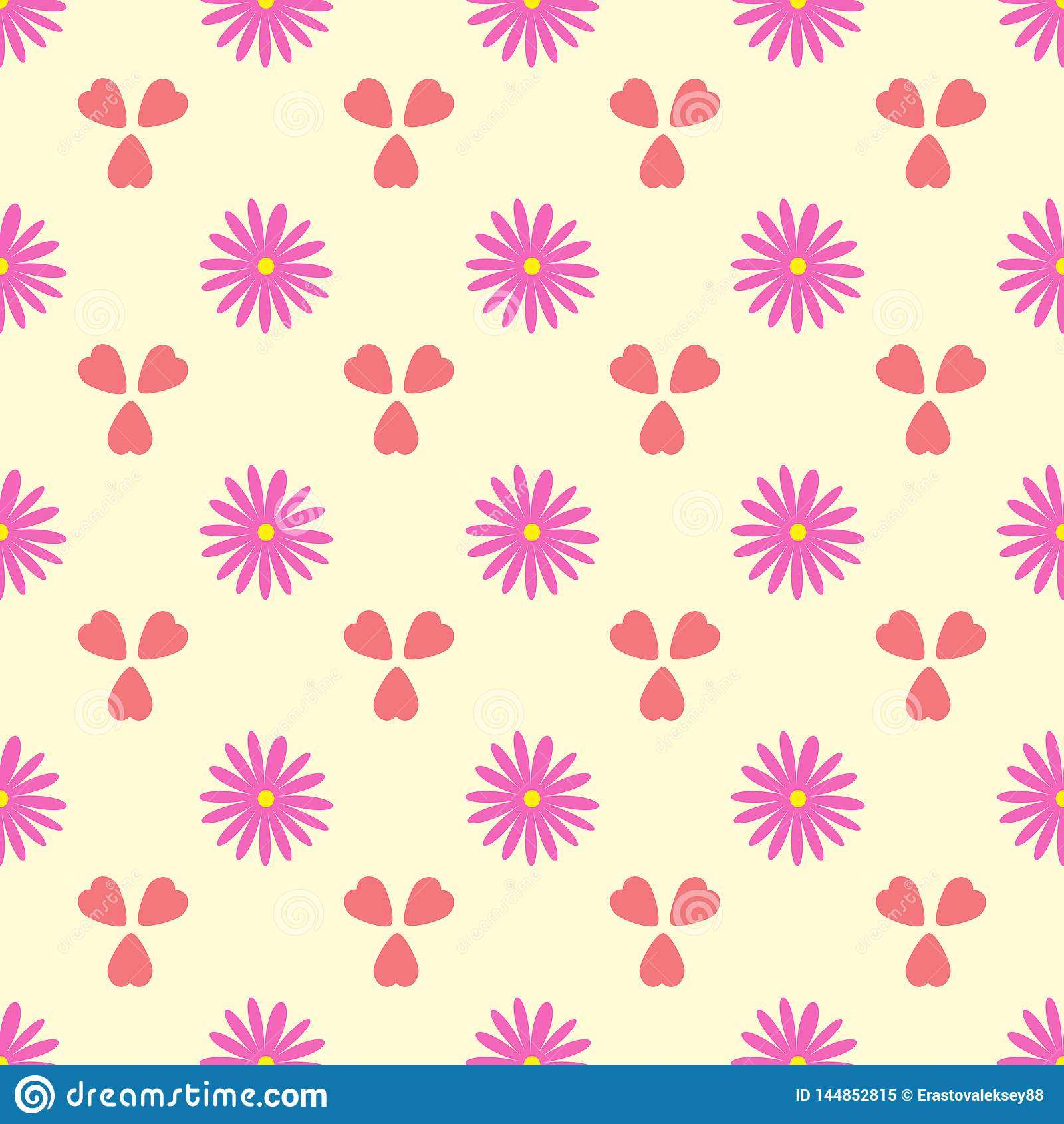 Simple seamless pattern with flowers and hearts. Romantic floral vector illustration.
